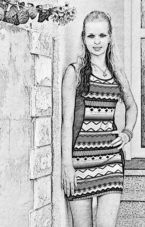 drawing girl pretty