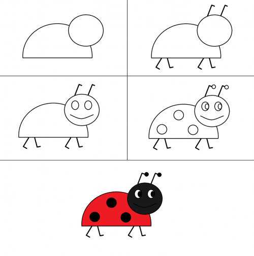 drawing ladybug red