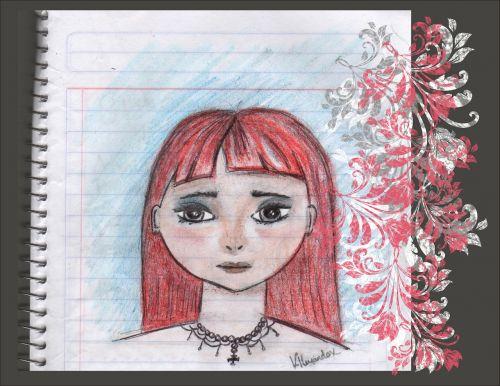 drawing women crayon