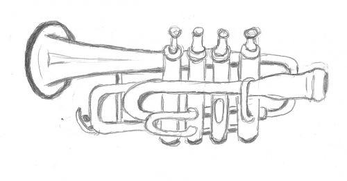 drawing trumpet sketch