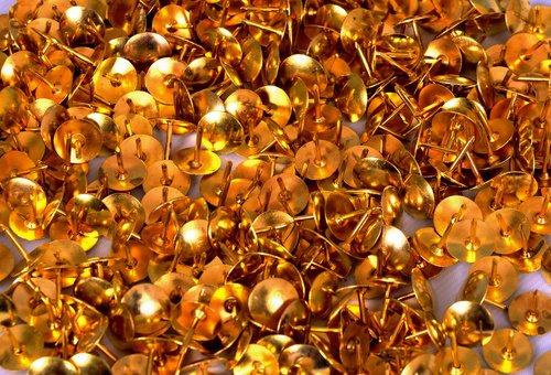 drawing pins  gold  stationary