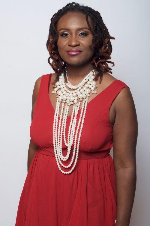 dreadlocs black woman red dress