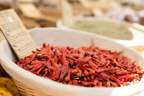 dried red peppers farmer's market hot