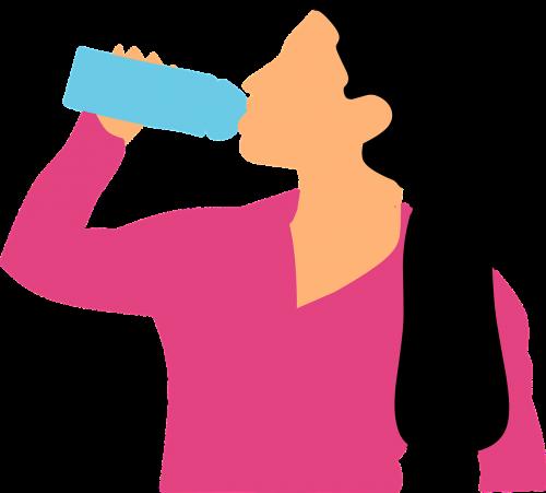 drinking water woman
