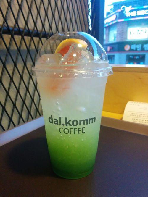 drinking orange ade