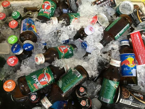 drinks on ice bottles colorful