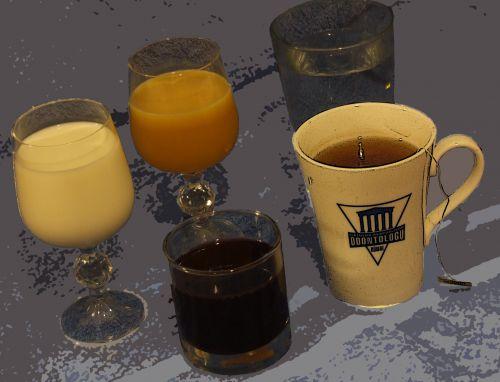 Drinks: Water, Milk, Juice, Tea