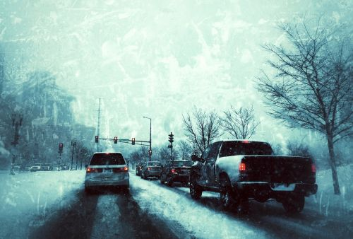 driving winter snow