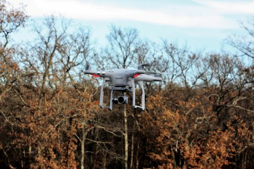 Drone Flying On Fall Background