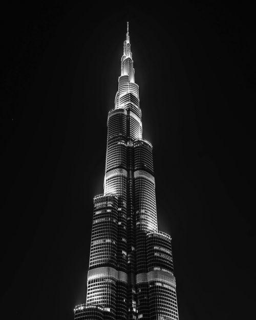 dubai night black and white