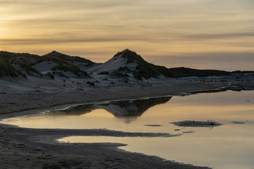 dunes  water  sunset