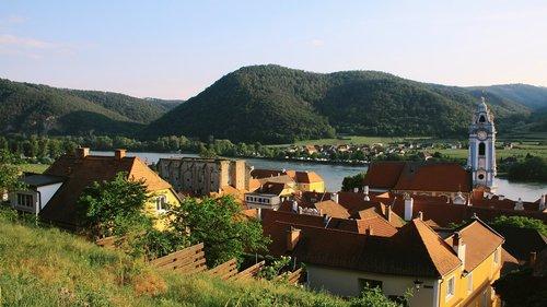 Dürnstein, Wachau, Dunojaus, bažnyčia, rašiklis, upė, Austrija, dunojus slėnis, mažesnės austrija, dunojus regionas, kraštovaizdis, pasaulinis paveldas, idiliškas, slėnis, mėlyna valandą
