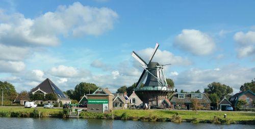 dutch windmill channels sky