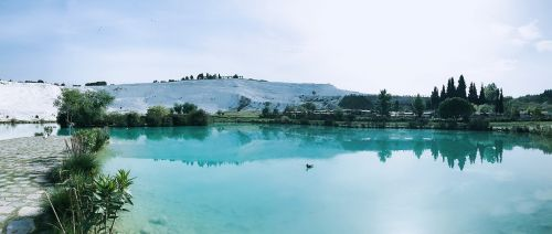 early in the morning pamukkale at the foot of natural beauty