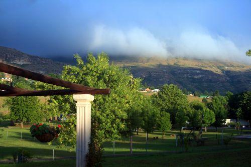 sodas, žalias, kalnas, migla, rūkas, ankstyvo ryto migla