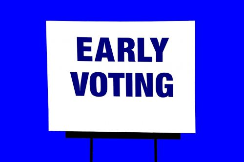 early voting sign isolated background