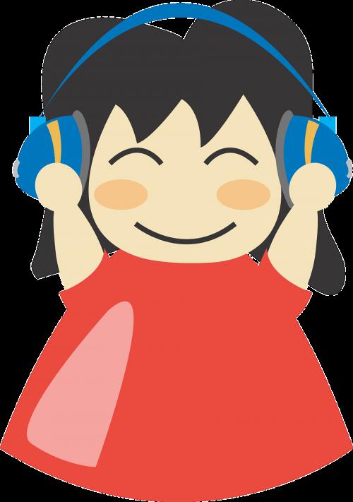 earphones girl happy
