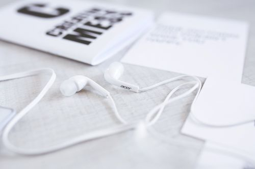 earphones headphones white