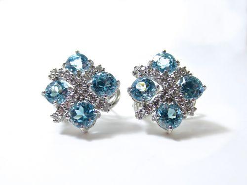 earrings diamonds blue