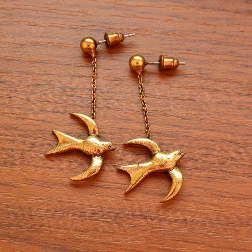 earrings swallows gold earrings