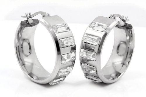 earrings circles steel