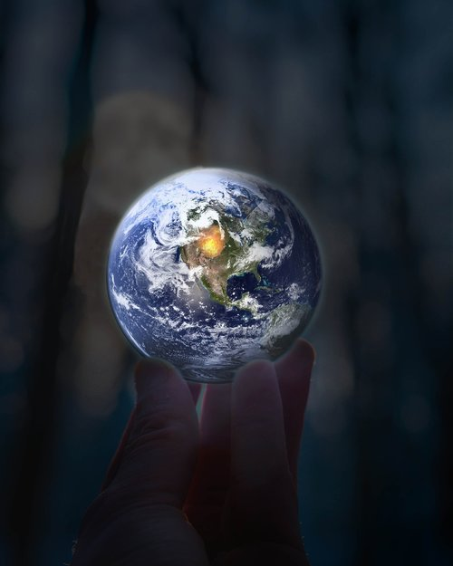 earth  hand  world