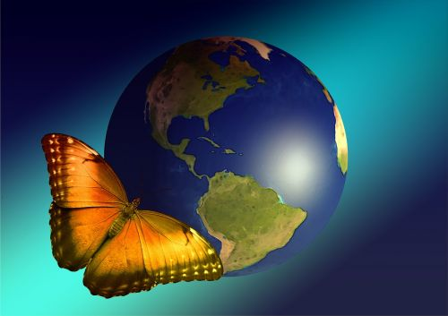 earth globe butterfly