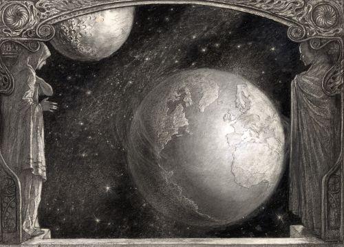 Earth Milky Way & Moon