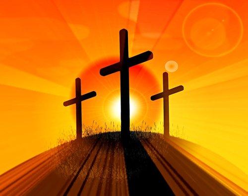 easter cross  3 crosses on hill  jesus resurrection