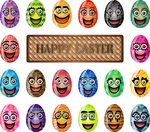 easter eggs faces laughing