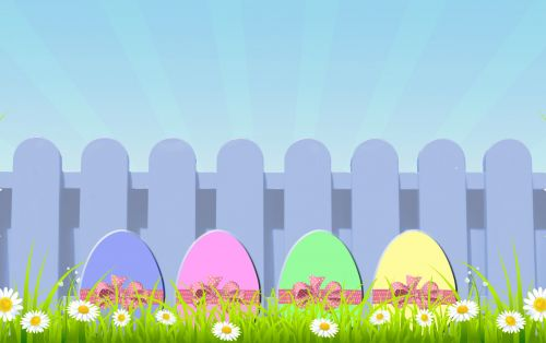 Easter Eggs With Picket Fence
