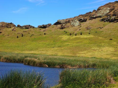 easter island moai caldera