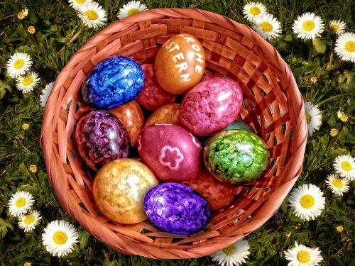 Velykų lizdas,Velykos,Velykų kiaušiniai,spalvinga,krepšelis,Velykų kiaušinių tapyba,pavasaris,spalvos