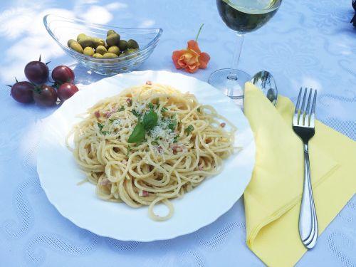eating pasta kitchen