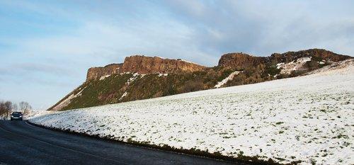 edinburgh  arthur's seat  snow