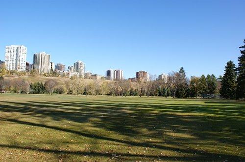 Edmonton, Miestas, Downtown, miesto, architektūra, miestovaizdis, Kanada, Alberta, Skyline, statyba, parkas