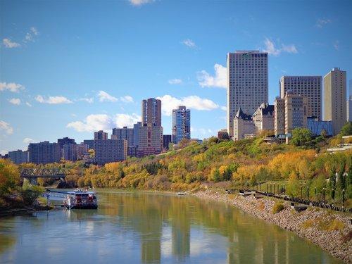 Edmonton, upės slėnis, Alberta, Kanada, upė, slėnis, Miestas, Downtown, statyba, dangus, medžiai, miestovaizdis, ruduo, kraštovaizdis, valtis, atspindys, Skyline, scena, mėlynas