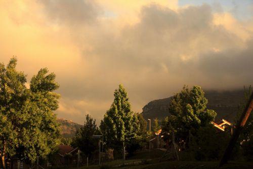 kalnas, migla, šviesa, baisus, švytėjimas, baisus ryto šviesa