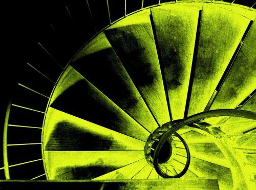 laiptinė, spiralė, spinduliavimo, geltona, baisu, brangūs spiraliniai laiptai