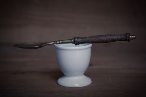 egg cups white spoon