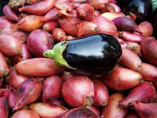 eggplant hagymaágyon vegetables food