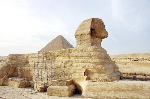 Egiptas, Sphinx, Gizeh, statula, archeologija, Senovinis, liūtas, Faraonas, 2500ac, žvėrtakiai, kelionė, piramidė