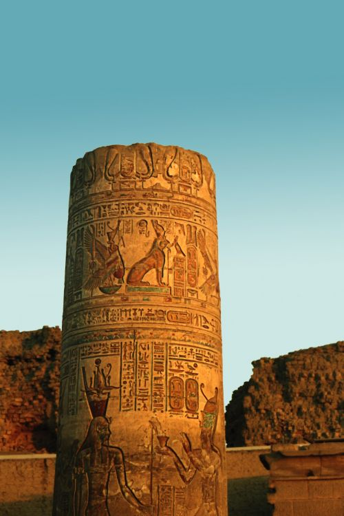 Egyptian Pillar At Sunset