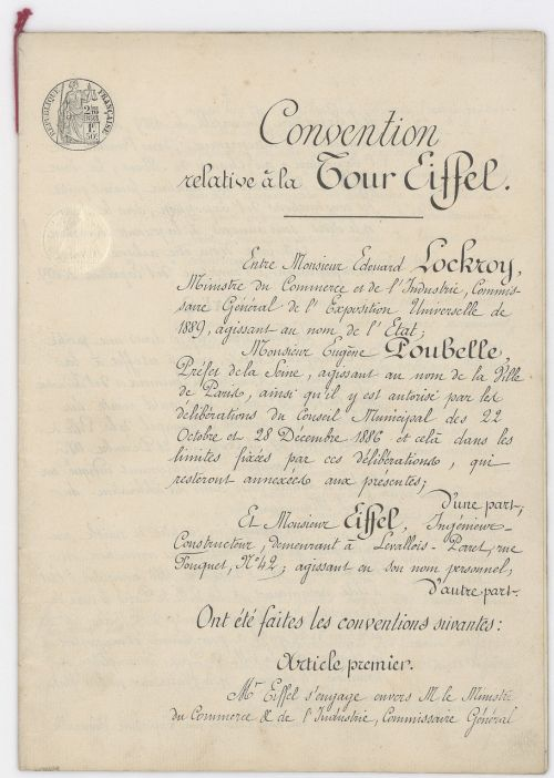 eiffel tower 1887 former official document