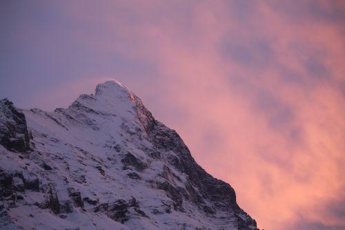 eiger mountain sunset