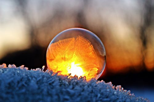 eiskristalle soap bubble winter