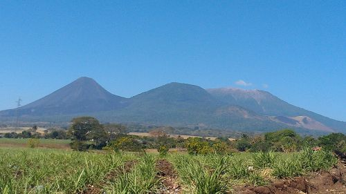 el salvador el sunza panoramic view of volcanoes izalco