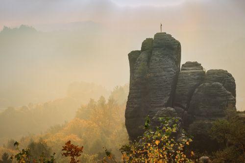 elbe sandstone morning haze
