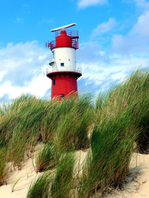 electric lighthouse red white borkum
