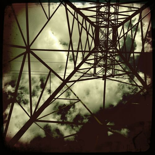 electrical tower design black and white